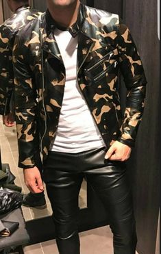 Men's Leather, Leather Fashion, Leather Jacket, Mens Fashion, Mode Masculine, Head To Toe, Handsome, Guys, Casual