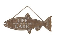Ready to hang on the wall Constructed with MDF Reads:Life is better at the Lake Measures Creative Co Op, Creative Crafts, Patio Signs, Fish Wall Decor, Fish Shapes, New Wall, Wall Décor, Custom Metal, Life Is Good