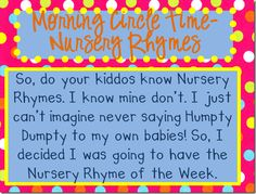 Nursery Rhymes Weekly goal