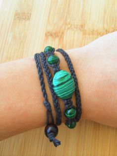 Malachite Hemp Wrap Bracelet  Black Organic Hemp by TheSunLab, $14.00