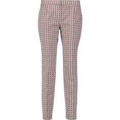 Tory Burch Cotton-blend stretch-jacquard skinny pants (€88) ❤ liked on Polyvore featuring pants, multi, white trousers, white stretch pants, tory burch, white skinny pants and stretch pants