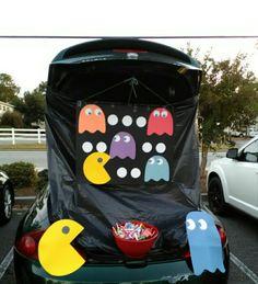 PAC Man trunk or treat Halloween Car Decorations, Halloween Themes, Fall Halloween, Pac Man Halloween Ideas, Halloween Party, Trunk Or Treat, Fashion Art, Stranger Things Halloween, Fall Carnival