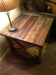 Rustic X End Table | My husband made these rustic end tables from a plan off of ana-white.com. Love them!