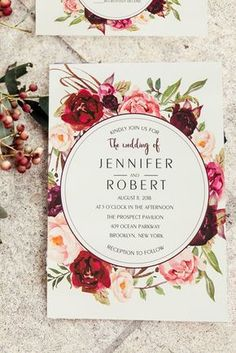 as low as $0.94 cheap burgundy floral boho wedding invitations