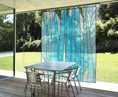 Abstract forest design - Sheer window shade/ covering, in/outdoor décor. Korean fabric art, Jogakbo - $2050 Yeah, really.
