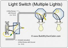 wiring diagram for multiple lights on one switch power coming in rh pinterest com  wiring two lights to two switches diagram