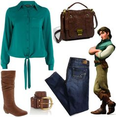 """Tangled: """"Flynn Rider Outfit ~ Flynn Rider is charming and adventurous…and also a fugitive. However, he agrees to take Rapunzel on a journey to the kingdom to see the lights on her birthday.    Capture Flynn's edgy look by pairing a green button-up blouse with some skinny jeans. Tuck the jeans into a pair of tan riding boots and add a faux leather belt. Grab a faux leather crossbody bag to finish off the look!"""""""