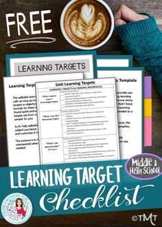 Learning Target Template for checklists, posters, etc. - free. #middleschoolela #highschool #middleschoollanguagearts #learningtargets #learningtargetchecklist
