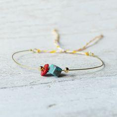 Tiny little friendship bracelet brass adjustable red by AMEjewels