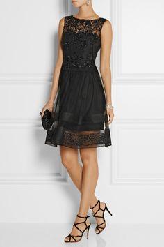 Notte by Marchesa|Lace-trimmed embellished tulle dress|NET-A-PORTER.COM