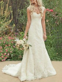 $182.99 Hot Sale Trumpet/Mermaid Court Train Lace Country Wedding Dress