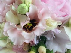 Blumen eines runden Brautstrausses: Pfingstrosen, Eustoma, Wicken, Freesien, Hypericum Wicken, Plants, Pentecost, Florals, Wedding, Dekoration, Planters, Plant