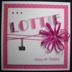 All pink and girly for this 18th Birthday card. I can add any name and metal charm of your choice.