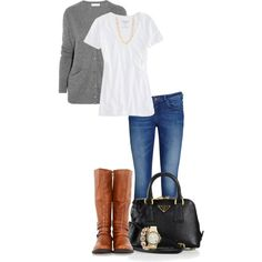 """Gray, White, Cognac & Black!"" by jjanstover on Polyvore"