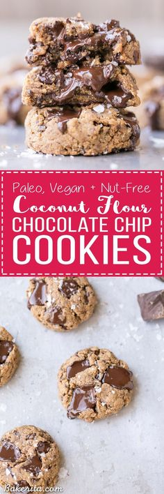 These Coconut Flour Chocolate Chip Cookies are ready in just 20 minutes and they are SO gooey, thick, and delicious. These easy cookies are Paleo, vegan, and nut-free.