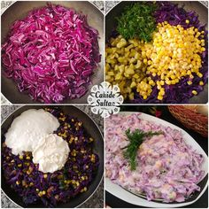 Purple Cabbage Salad with Yogurt - Salat Appetizer Salads, Appetizers, Healthy Salads, Healthy Recipes, Yogurt, Roasted Eggplant Dip, Cabbage Salad Recipes, Turkish Recipes, Food And Drink