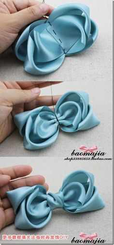 ribbon bow diy - ribbon bow tie for girls (Link out re-links to a different pin of this image- 08/12/13)