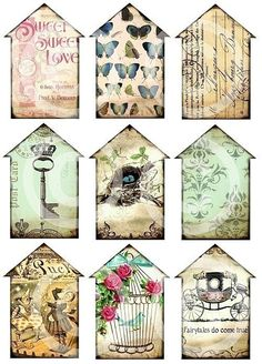 LiTTLe HouSeS Set of 9 carriage skeleton key crown nest bird cage vintage paper original digital collage sheet altered art hang tags. $4.29, via Etsy.