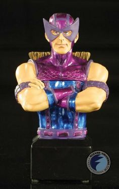 "Hawkeye (Avengers) Mini Bust Bowen Designs! by Bowen Designs. $56.07. He wasn't a god or super-human, but he still ranks up these with the greatest comic book heroes. Hawkeye relied solely on his ability as an excellent archer. This 5"" mini-bust is designed by Randy Bowen and sculpted by Mark Newman. Hawkeye is portrayed from the waist up with arms crossed across his chest and features arrows on his back. Painted and ready to display."