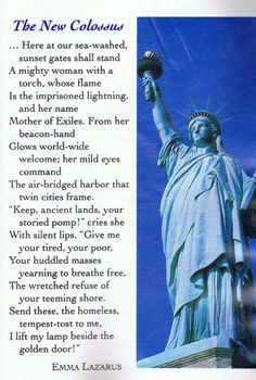 The meaning of the statue of liberty in emma lazarus poem the new colossus