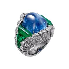 "CARTIER ""Originelle"" Ring - platinum, one 32.35-carat hexagonal-shaped cabochon sapphire, rough emeralds, brilliant-cut diamonds"