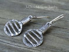 Sterling silver handmade earrings, rustic, reticulated and oxidized $45.00 by JoDeneMoneuseJewelry on Etsy