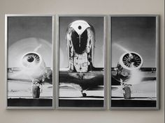 Airplane Triptych - 3 Panel Print - Unframed  This has literally been flying off our shelves since weve launched this gorgeous triptych.  Extra! Extra! Hot off the press, our vintage aircraft stretches its wings across three photographic panels, freezing in time the elegance and power of the aviation age. The black-and-white image is sleek, elegant and a style of industrial brilliance.  You have the option to purchase this UNFRAMED print in 3 panels for the triptych style or you can…