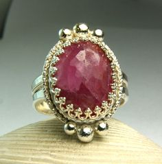 Huge Red Ruby Ring Sterling Silver Vintage by TazziesCustomJewelry