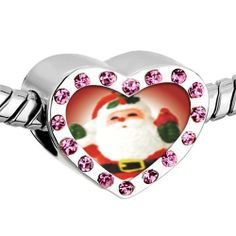 Pugster Pink Swarovski Crystal Merry Santa Photo Heart Silver Plated Beads Fits Pandora Charm Chamilia Biagi Bracelet Pugster. $16.49. Color: Pink. Weight (gram): 2.8. Size (mm): 12.95*7.4*10.31. Metal: Crystal