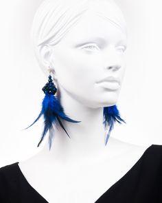 BLUE FEATHER DROP | cercei statement cu pene Blue Feather, Tassel Necklace, Drop Earrings, Modern, Black, Jewelry, Trendy Tree, Jewlery, Black People