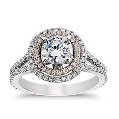Brides: Engagement Rings Under $10,000: Get the Look | Engagement Rings | Brides.com, Monique Lhuillier double halo engagement ring in platinum. #bluenile #brides #mrslhuillier