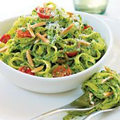 Spinach and basil combine to form a brightly colored, fresh-tasting pesto in this summery pasta dish.