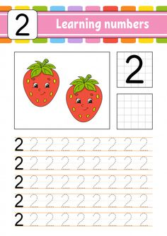 Trace and write. Learning numbers for kids. Game for toddlers and preschoolers. Isolated vector illustration in cute cartoon style. Color Worksheets For Preschool, Preschool Writing, Numbers Preschool, Kindergarten Math Worksheets, Learning Numbers, Preschool Alphabet, Alphabet Crafts, Alphabet Letters, Toddler Learning Activities