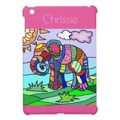 Personalized Girly colorful artistic elephant Case For The iPad Mini