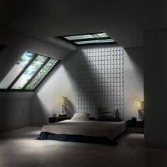 Bedroom, Inspirational of Some Impressive Attic Bedroom Schemes: Minimalist Attic Bedroom With Sky Light Theme