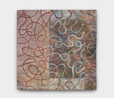 Detour39 x 39 inches, acrylic paint on stitched textile