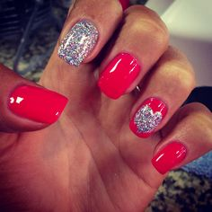 Pink glitter heart valentine nails