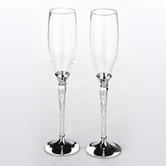 WeddingDepot.com ~ Retro Toasting Flutes ~ Raise your glasses to these fun, retro toasting flutes.  Couples will appreciate the detailed pattern on the stems of these glasses.