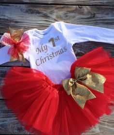 MY FIRST CHRISTMAS outfit , baby's first christmas outfit , red and gold tutu set
