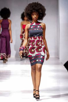 Sexy kente cloth form-fitting cocktail dress. African fashion