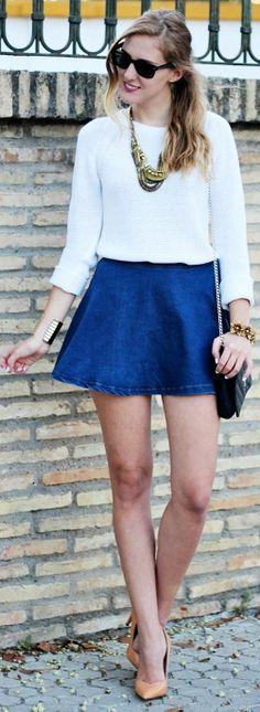 6ks Navy Denim High Waisted A-skirt by Dear Diary