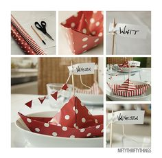 DIY Paper Boat Placecards or Food Card Holders