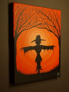 Painting of a scarecrow! Awesome for this Halloween! Fall Canvas Painting, Autumn Painting, Autumn Art, Canvas Art, Canvas Ideas, Halloween Imagem, Fete Halloween, Halloween Kids, Halloween Pumpkins