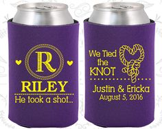 Country Wedding Favors, Personalized Wedding Favors, Monogram Wedding Favors, He Took A Shot, Monogrammed Gift, Wedding Favor Koozies (560)