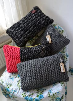 Knitted cushions reserved price per cushion by KOLYArecycle, $27.00