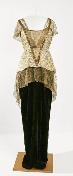 Dress, Evening  Jeanne Hallée (French, 1880–1914)  Date: 1913–14 Culture: French Medium: silk, metal Dimensions: Length at CB: 58 in. (147.3 cm)
