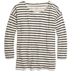 MADEWELL Cozy Slub Tee in Stripe (£38) ❤ liked on Polyvore featuring tops, t-shirts, shirts, long sleeves, stripes, bleached linen, white t shirt, long sleeve stripe shirt, bleaching white shirts and long sleeve tees
