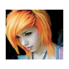 cute, emo girl orange hair, pretty found on Polyvore