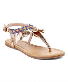 Look at this #zulilyfind! Gold Fringe T-Strap Sandal #zulilyfinds