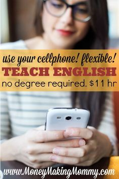 You can earn from home or really anywhere teaching English to others All you need is a smartphone Yep Not only that you DONT need a fancy degree and you can make 11 an h. Ways To Earn Money, Earn Money From Home, Make Money Fast, Earn Money Online, Make Money Blogging, Online Jobs, Money Tips, Mo Money, Tips